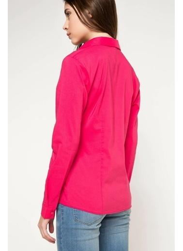 DeFacto Uzun Kol Basic Gömlek Pembe